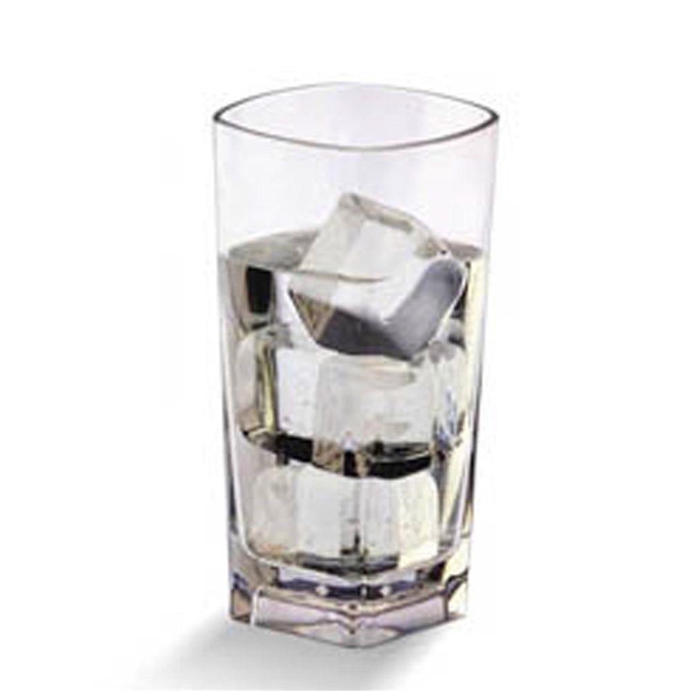 Gobelet base carrée réutilisable polycarbonate transp 37,2cl Ø7,2x14,5cm par 72