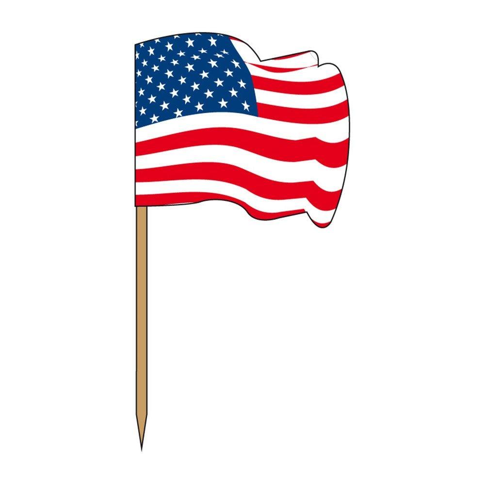 Petit drapeau USA bois 4x3/6,5cm - par 144