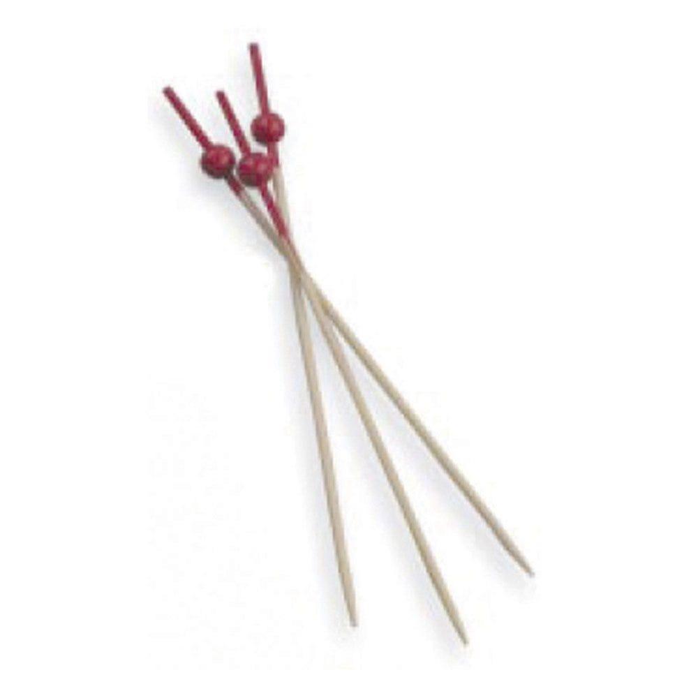 Pique bambou Boule rouge 9cm - par 100