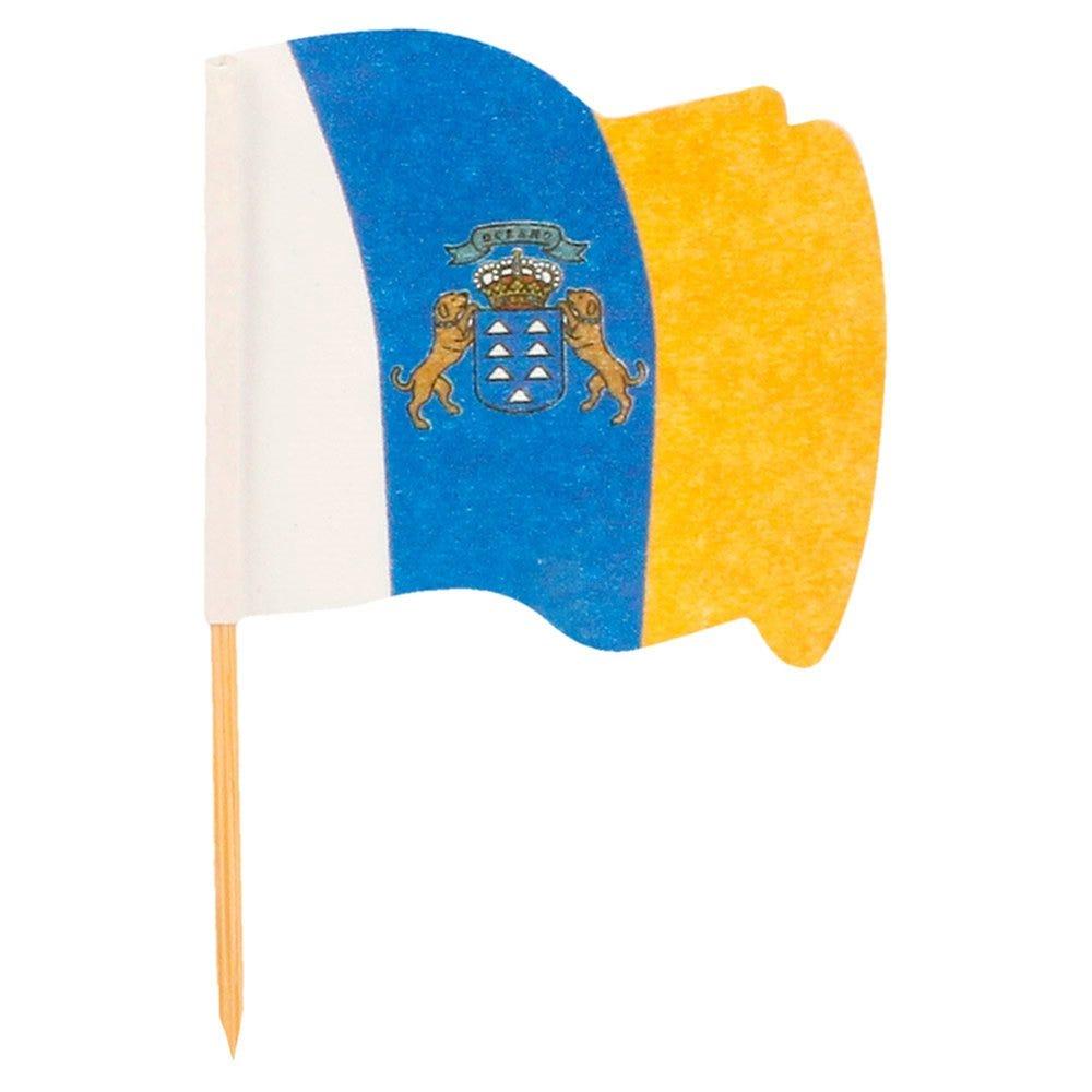 Petit drapeau Canaries bois 4x3/6,5cm - par 144
