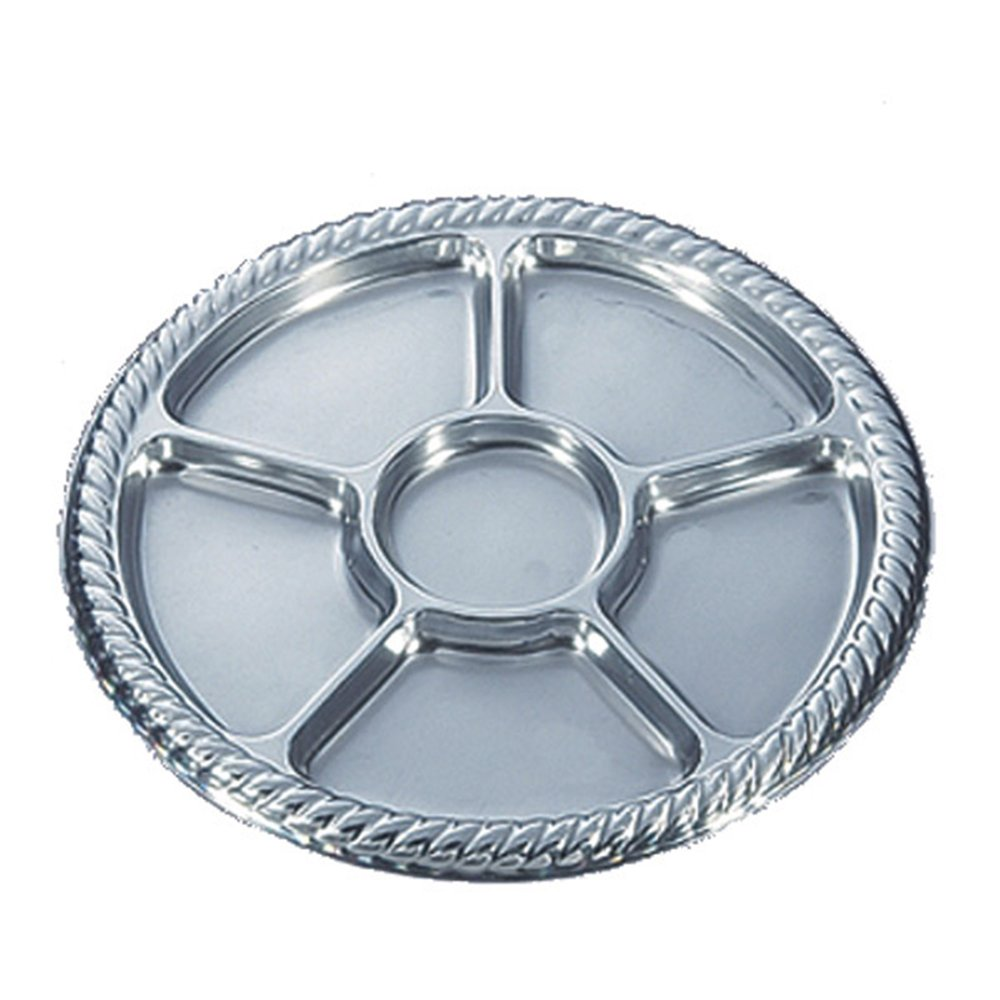 Assiette 5 compartiments argent PET D30,6cm - par 10 (photo)
