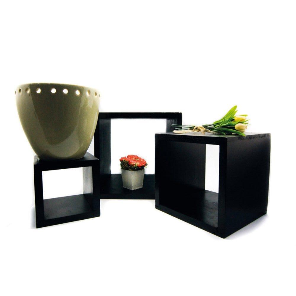 Cubes de pésentation bois noir 13/18/23cm - lot de 3