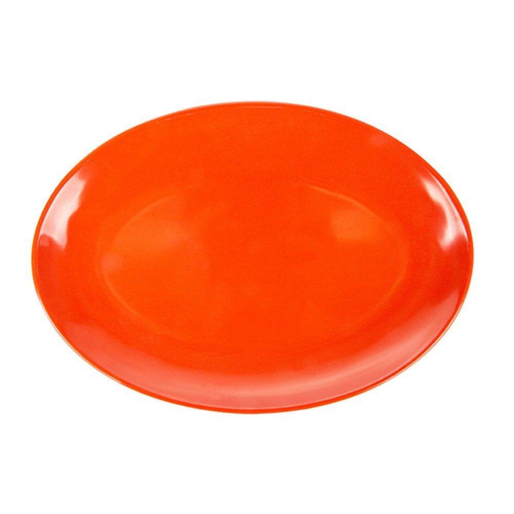 Assiette ovale mélamine rouge 25,5x18cm - par 15