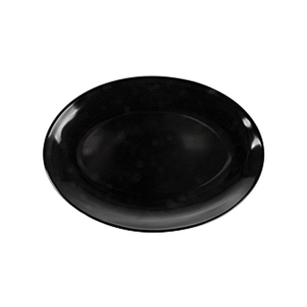 Assiette ovale mélamine noire 25,5x18cm - par 15