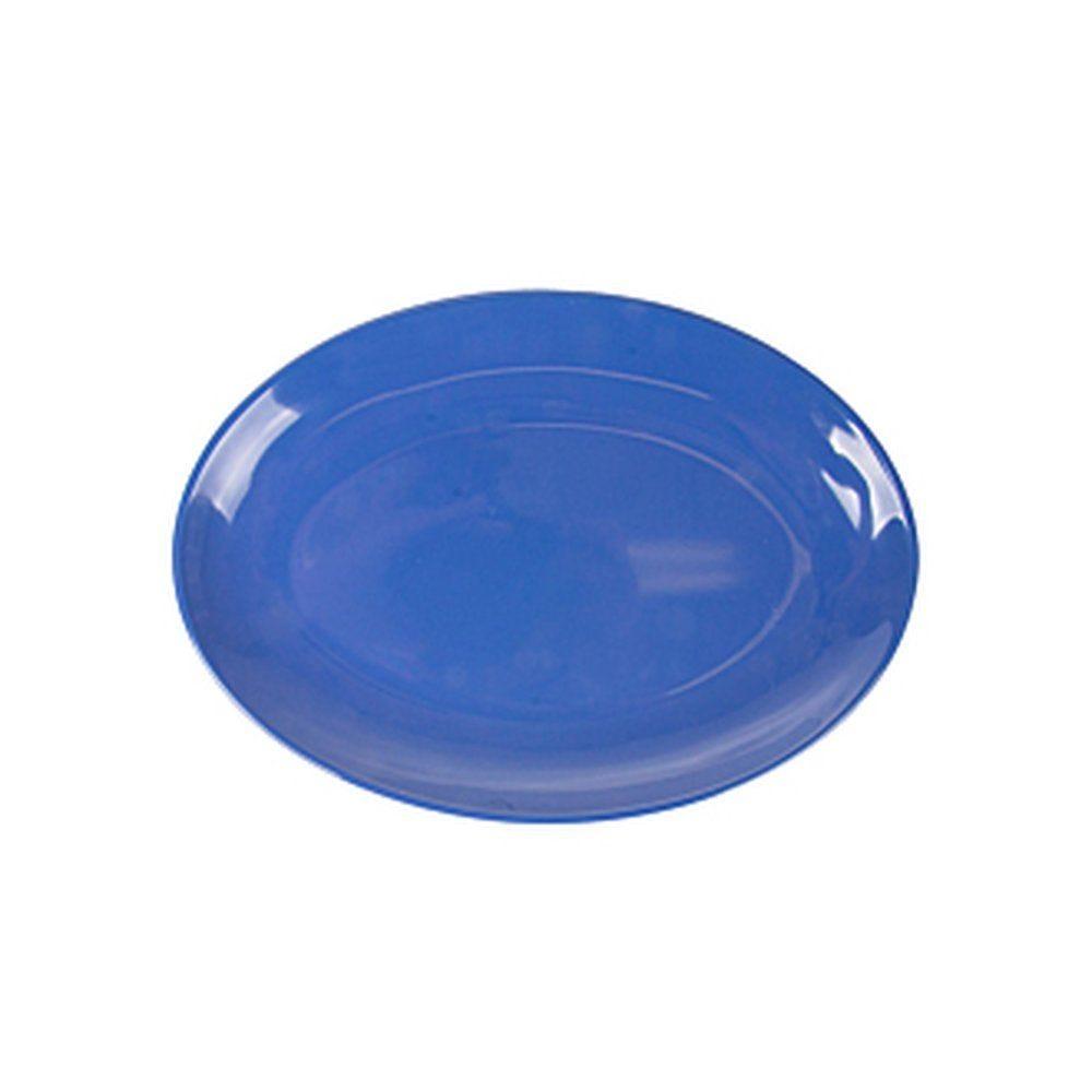Assiette ovale mélamine bleu 25,5x18cm - par 15