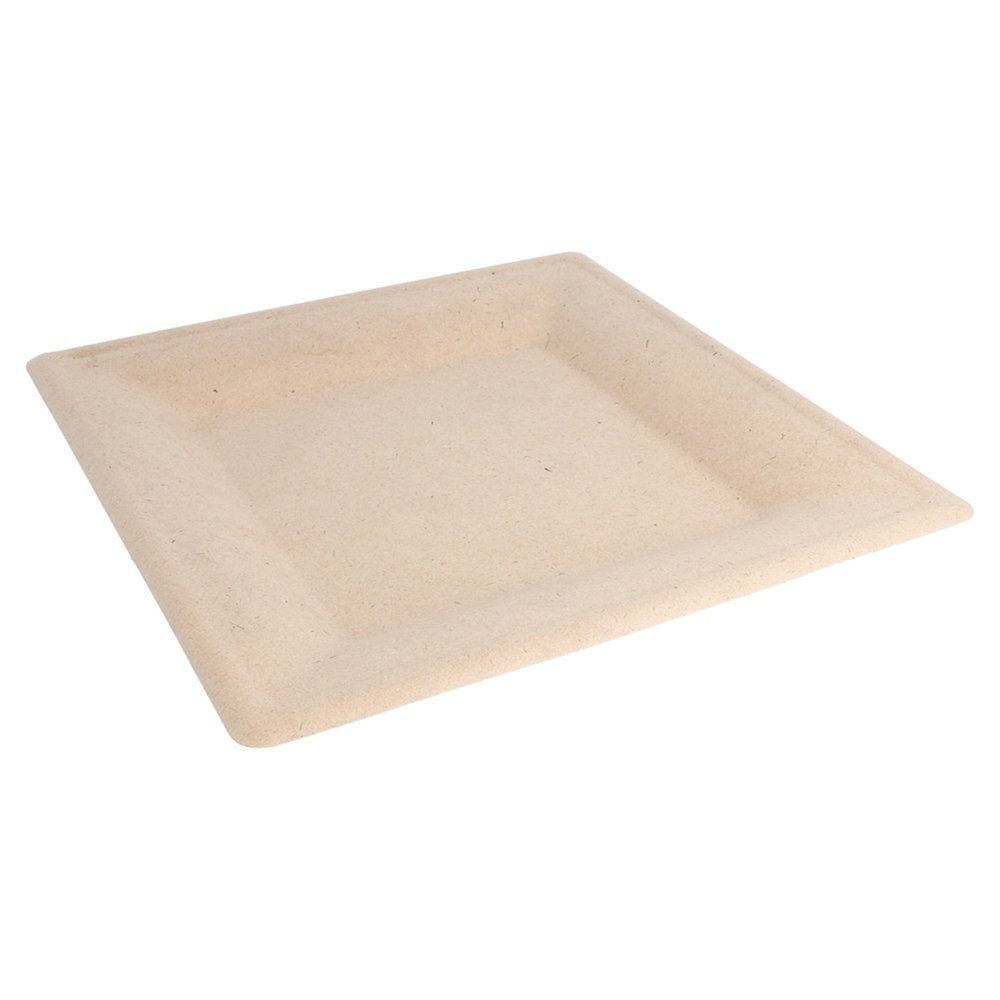 Assiette carrée bagasse naturelle 26x26x1,4cm - par 500 (photo)