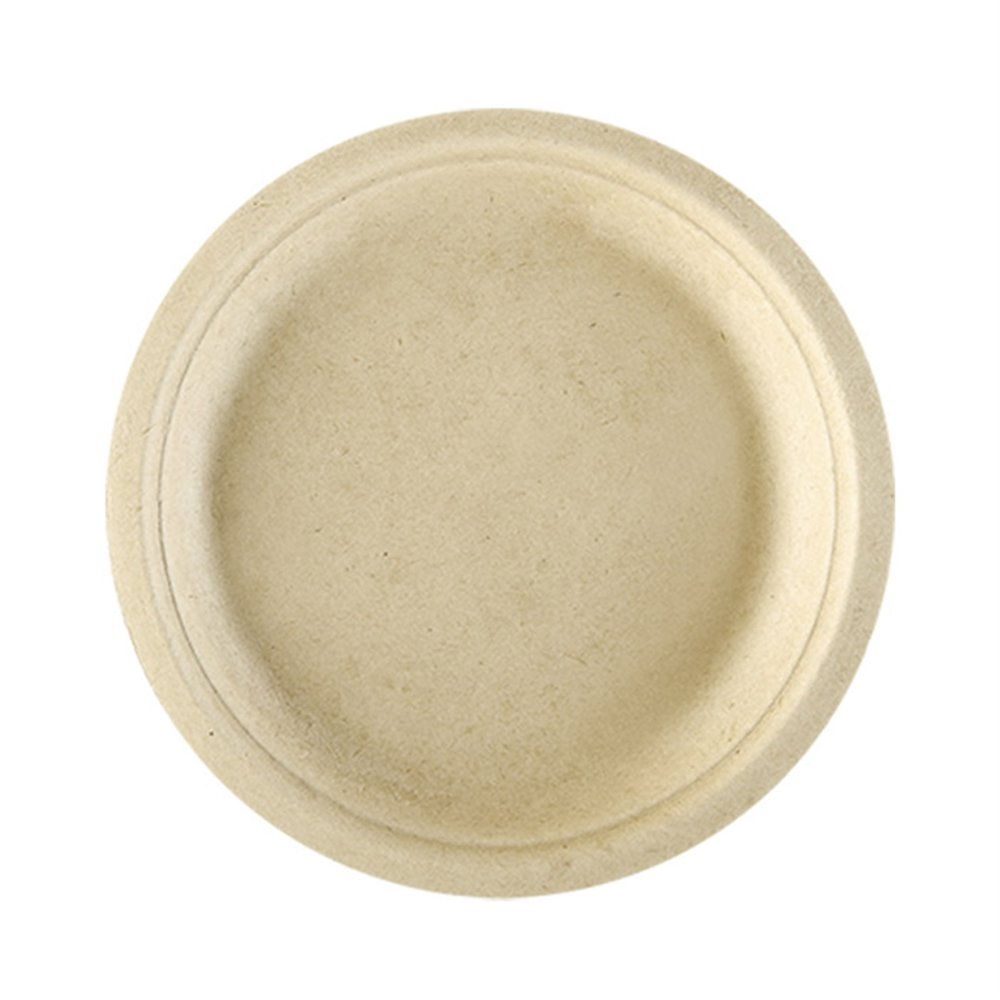 Assiette bagasse naturelle diamètre 26x2,1cm - par 500 (photo)