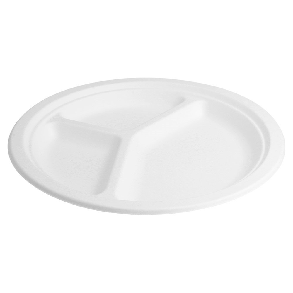 Assiette 3 compartiments bagasse blanche diamètre 26x2,6cm - par 800 (photo)