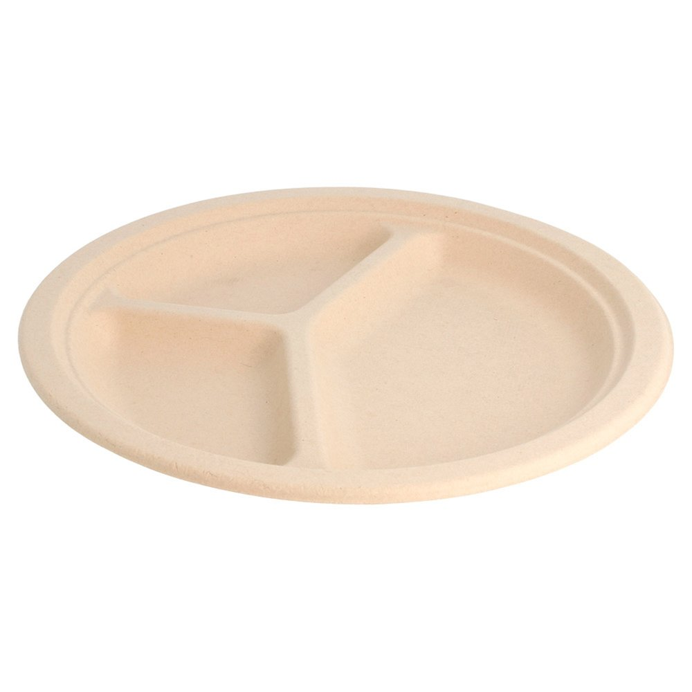 Assiette 3 compartiments bagasse naturelle diamètre 26x2,6cm - par 800 (photo)