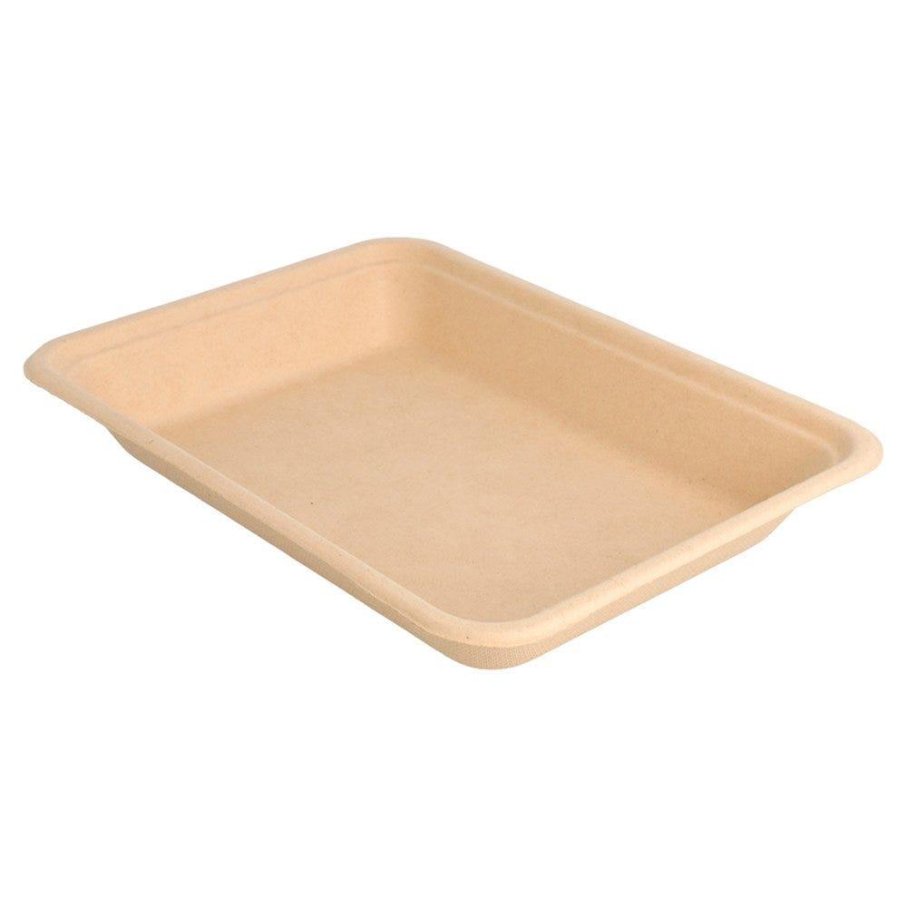 Barquette bagasse naturel 350ml 19,6x14,7x2,7cm - par 1000