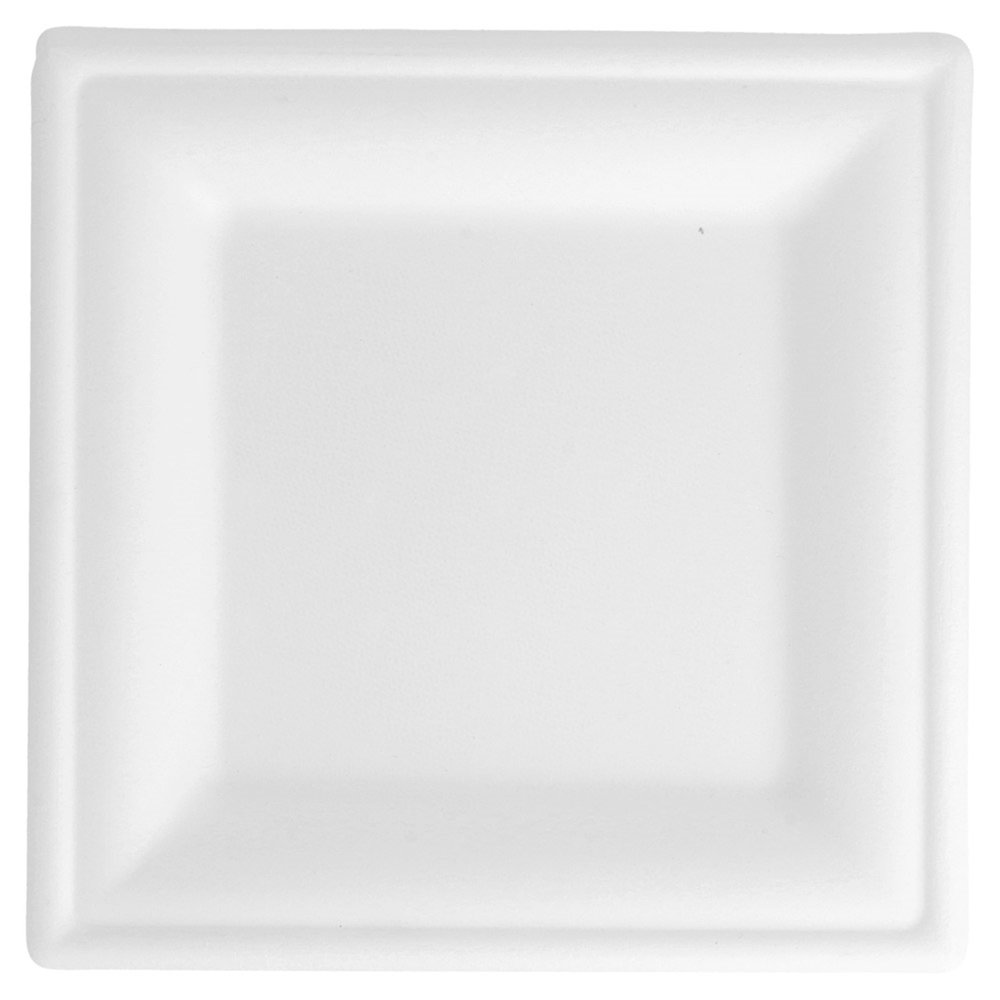 Assiette carrée bagasse blanche 16x16cm - par 1000 (photo)