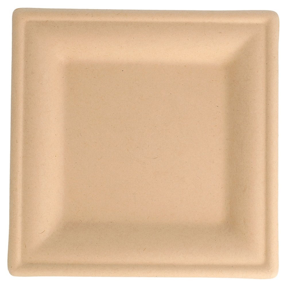 Assiette carrée bagasse naturelle 16x16x1cm - par 1000 (photo)