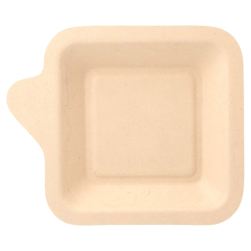 Assiette carrée bagasse naturelle 11x11cm - par 1000 (photo)