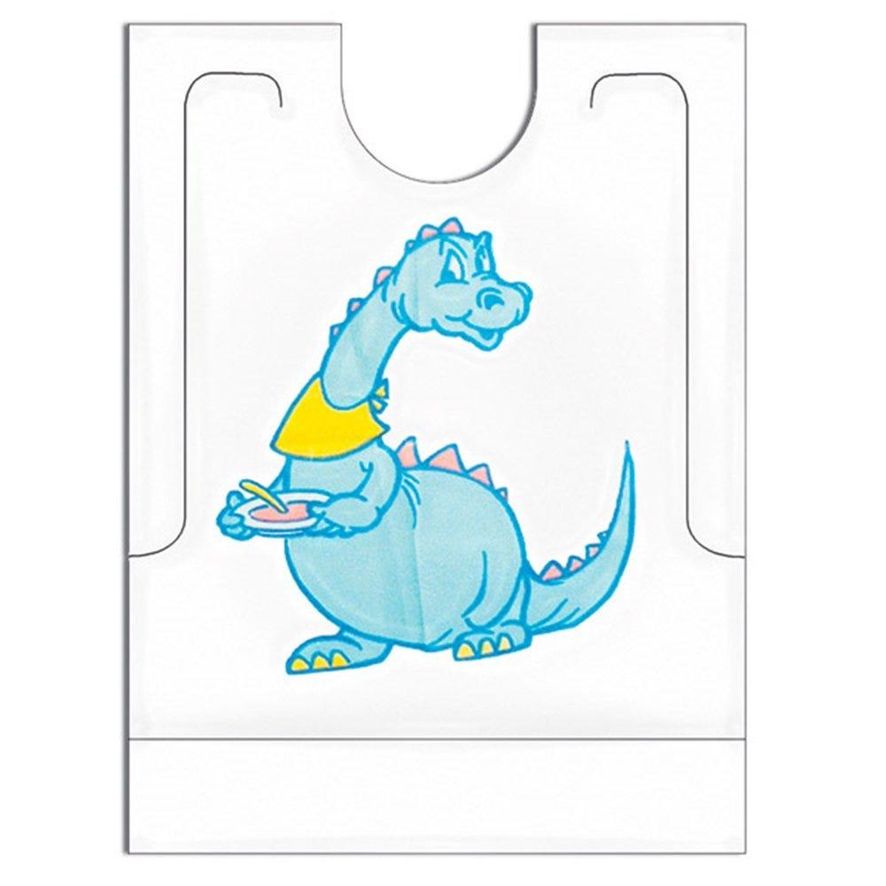 Bavoir enfant Dino avec poche PEHD blanc 27x34+5cm - par 500