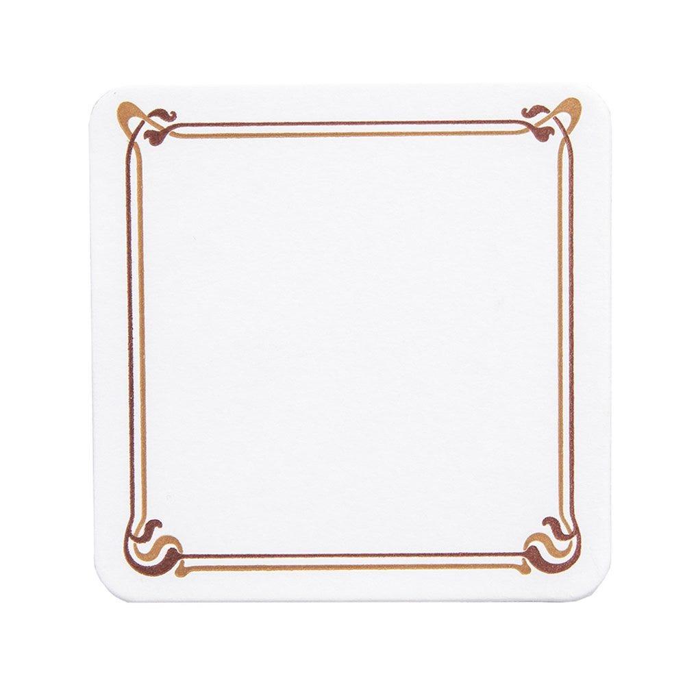 Dessous de verre carton blanc Art nouveau motif brun 8,5x8,5cm - par 6000