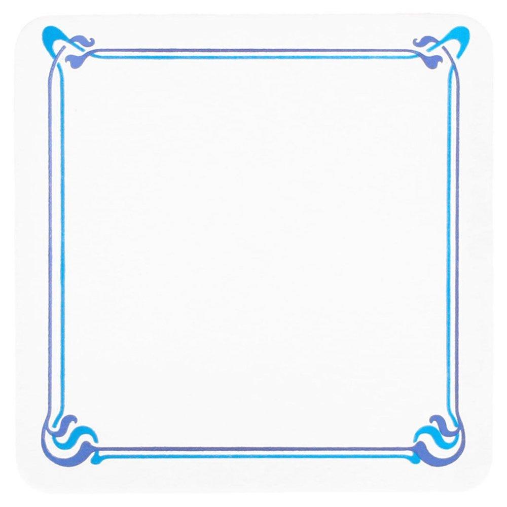 Dessous de verre carton blanc Art nouveau motif bleu 8,5x8,5cm - par 6000