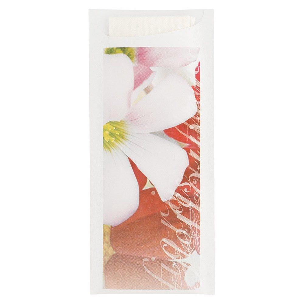 Etui pour couverts papier Fleurs + serviette blanche intissée 8,5x19,5cm par 250