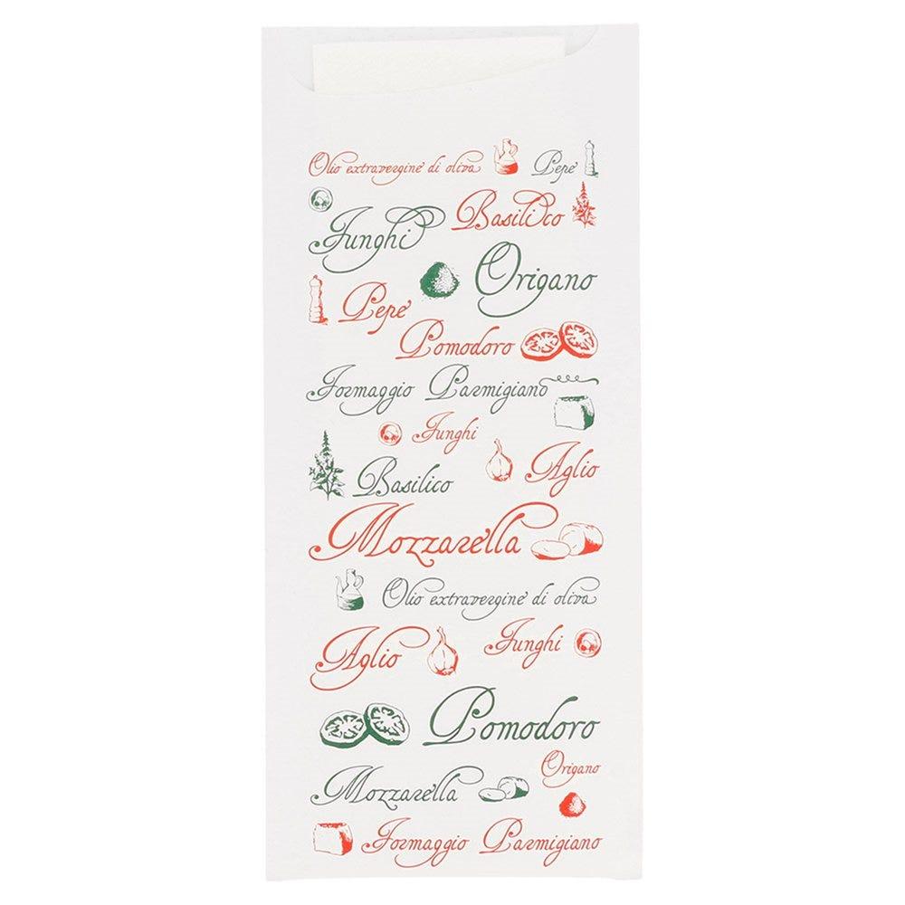 Etui pour couverts papier Pizza + serviette blanche intissée 8,5x19,5cm par 250