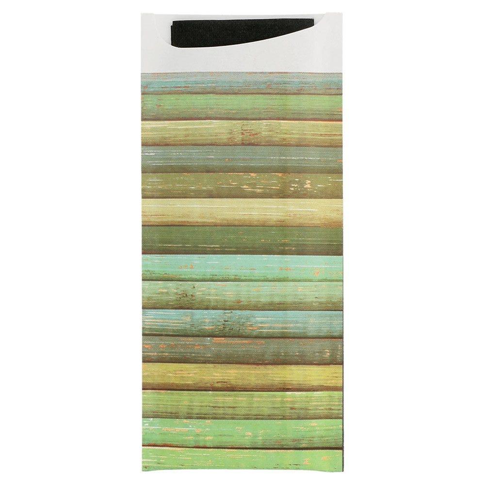 Etui pour couverts papier Wood + serviette noire intissée 8,5x19,5cm par 250