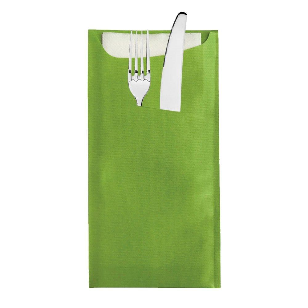 Etui pour couverts kraft vert + serviette blanche intissée 11,2x22,5cm x250