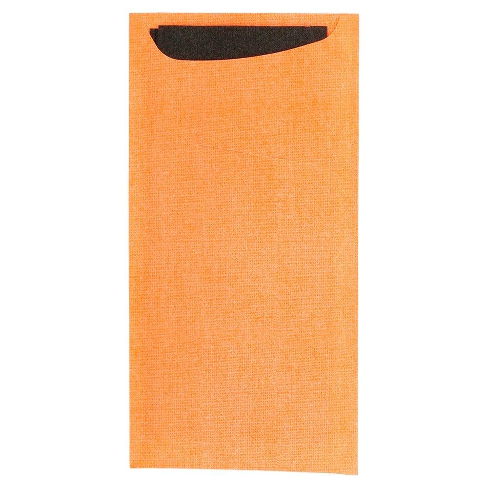Etui pour couverts kraft orange + serviet noire intissée 11,2x22,5cm x250