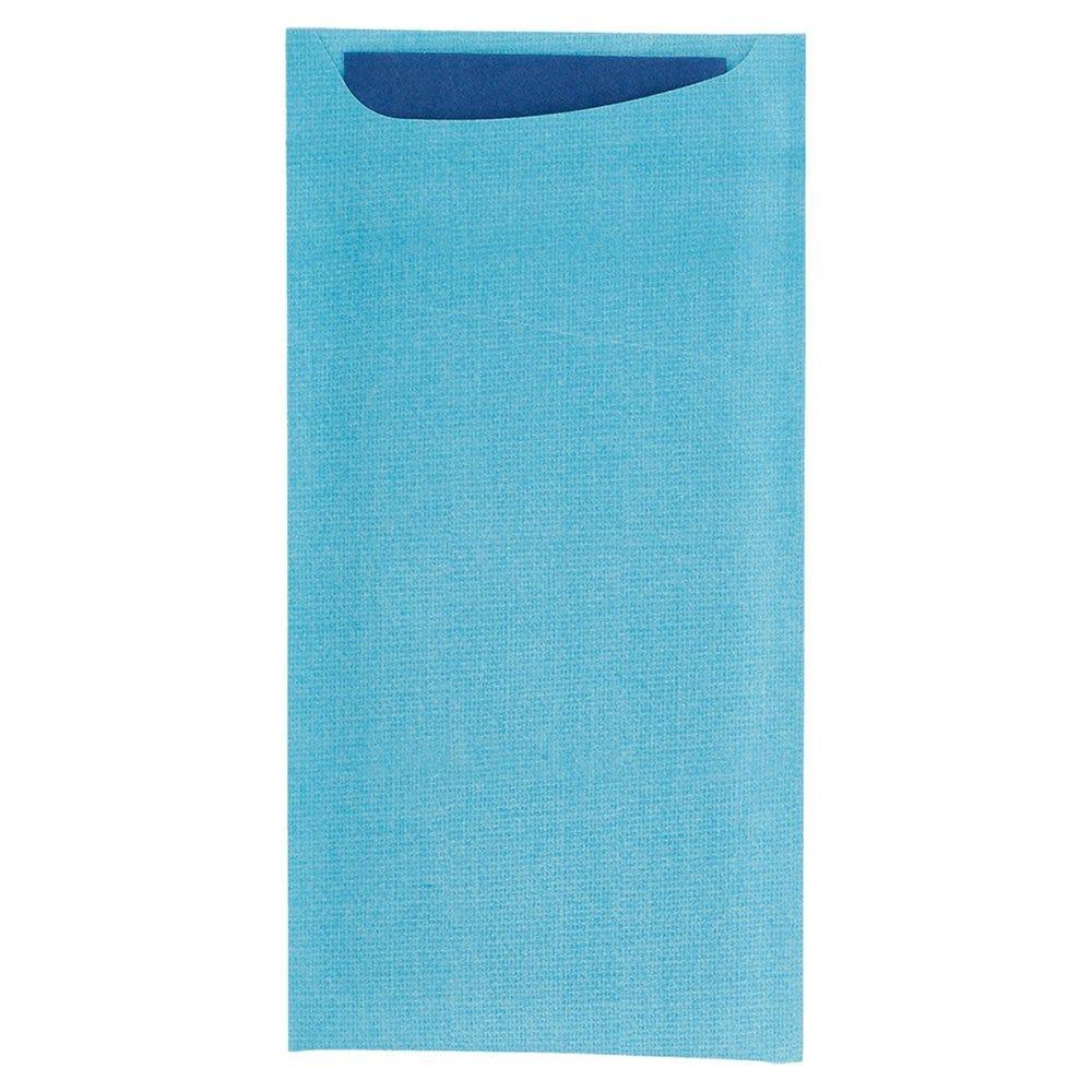 Etui pour couverts kraft turquoise + serviet bleu intissée 11,2x22,5cm 250