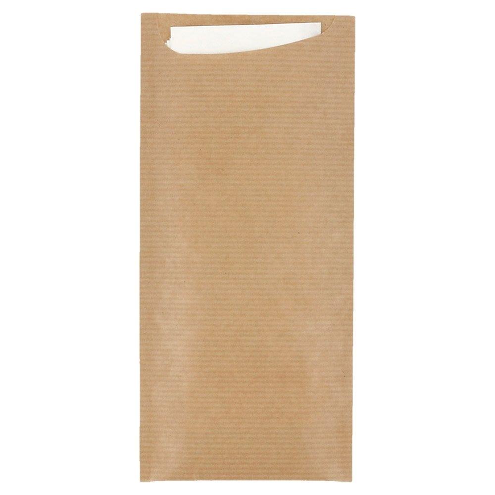 Etui pour couverts kraft naturel +serviette blanc intissée 8,5x19,5cm x250