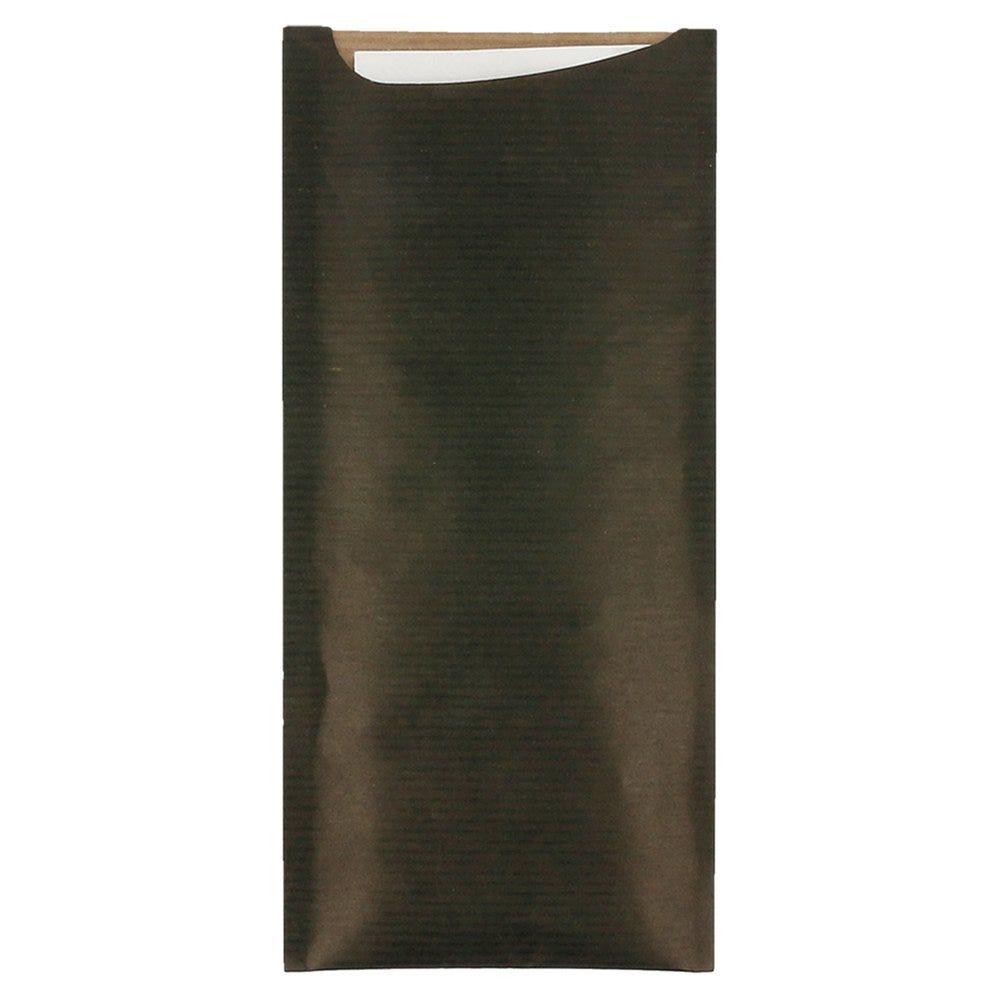 Etui pour couverts kraft noir + serviette blanche intissée 8,5x19,5cm x250