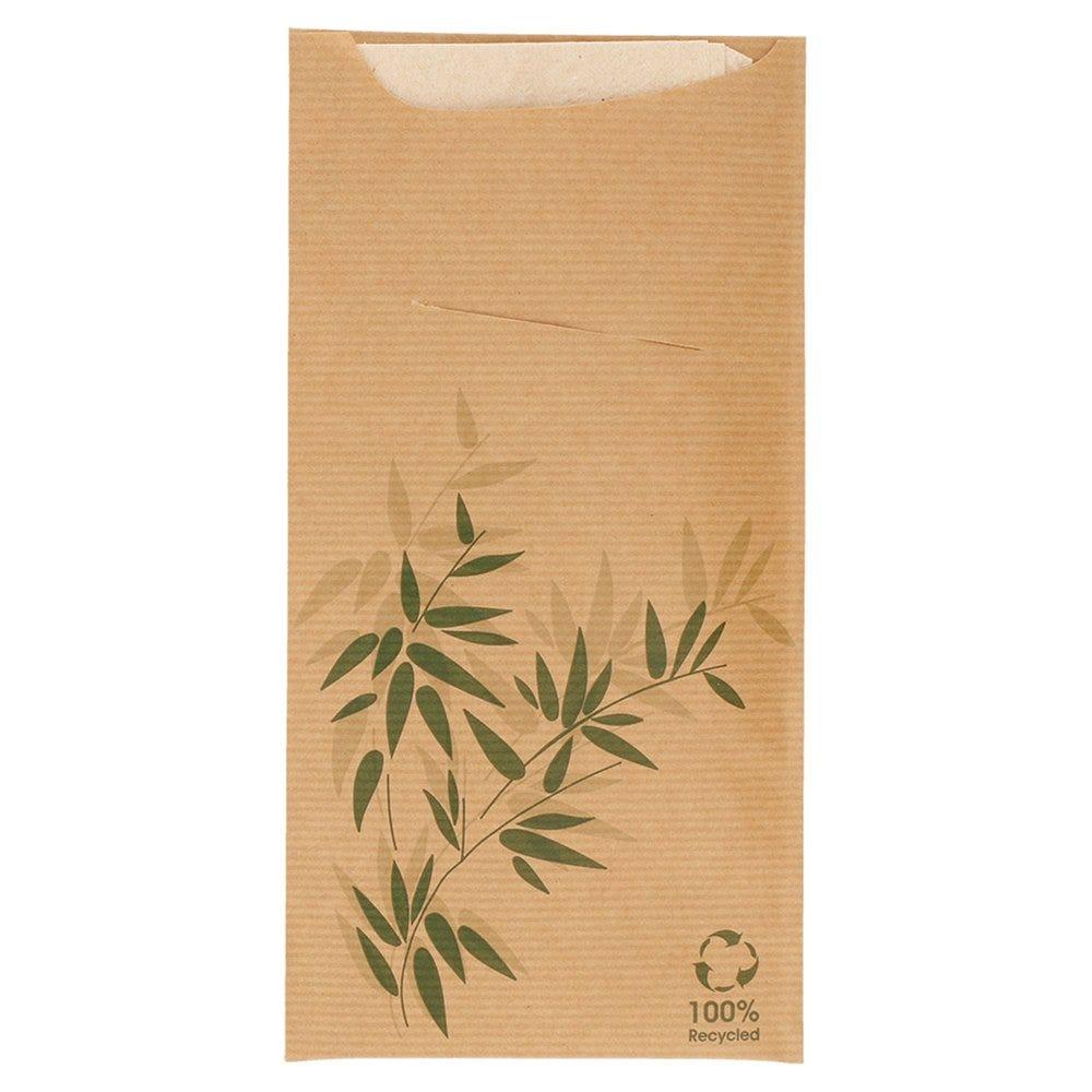 Etui pour couverts kraft Feel Green + serviette blanche 11,2x22,5cm x400
