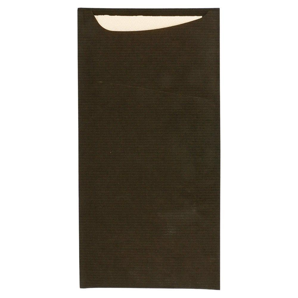 Etui pour couverts kraft noir + serviette blanche 11,2x22,5cm par 400