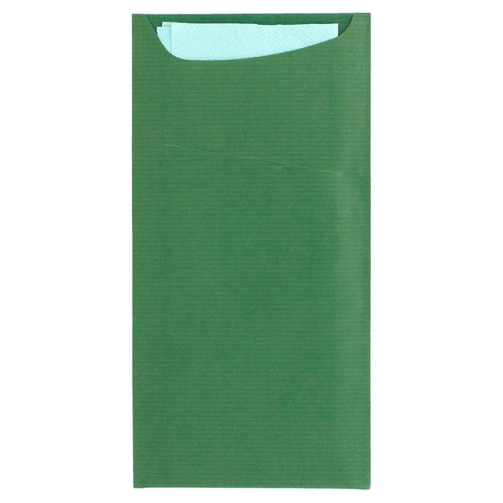 Etui pour couverts kraft vert + serviette bleu claire 11,2x22,5cm x400