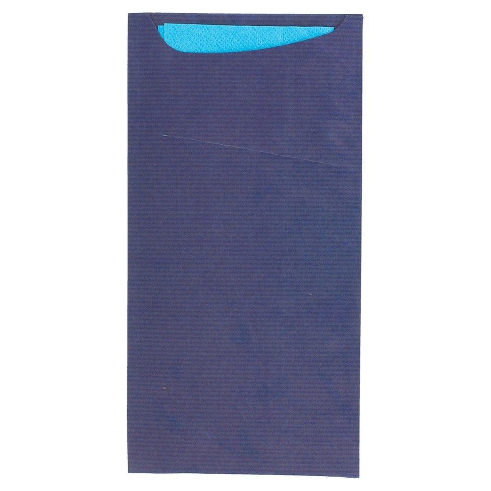 Etui pour couverts kraft bleu + serviette turquoise 11,2x22,5cm x400