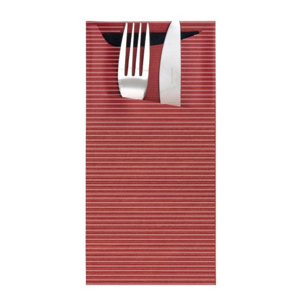 Etui pour couverts kraft bordeaux + serviette noire 11,2x22,5cm x400