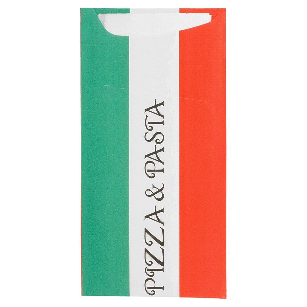 Etui pour couverts papier Pizza & Pasta + serviette blanche 11,2x22,5cm par 400