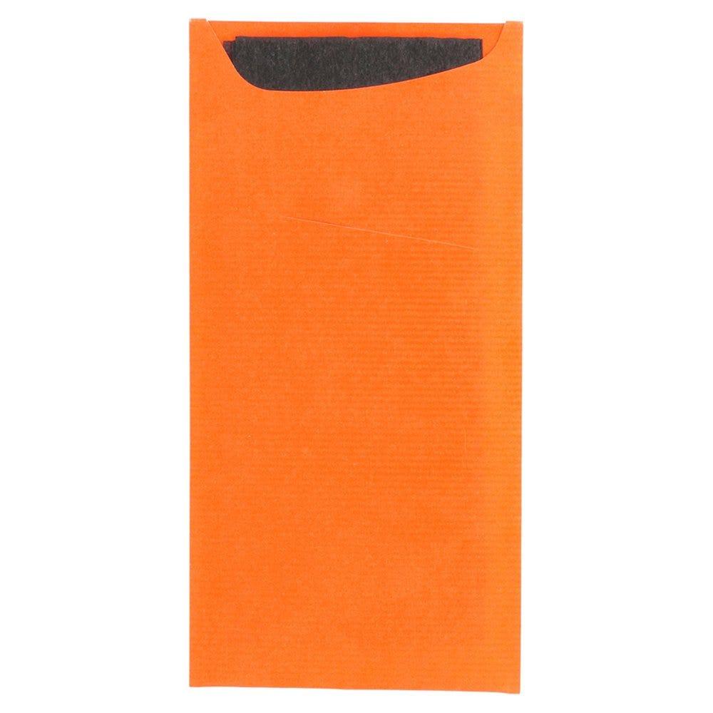Etui pour couverts papier orange + serviette noire 11,2x22,5cm par 400