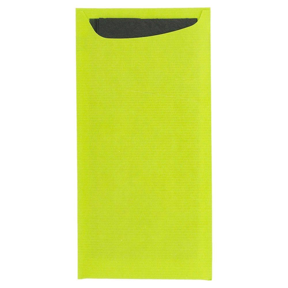 Etui pour couverts papier vert anis + serviette noire 11,2x22,5cm par 400