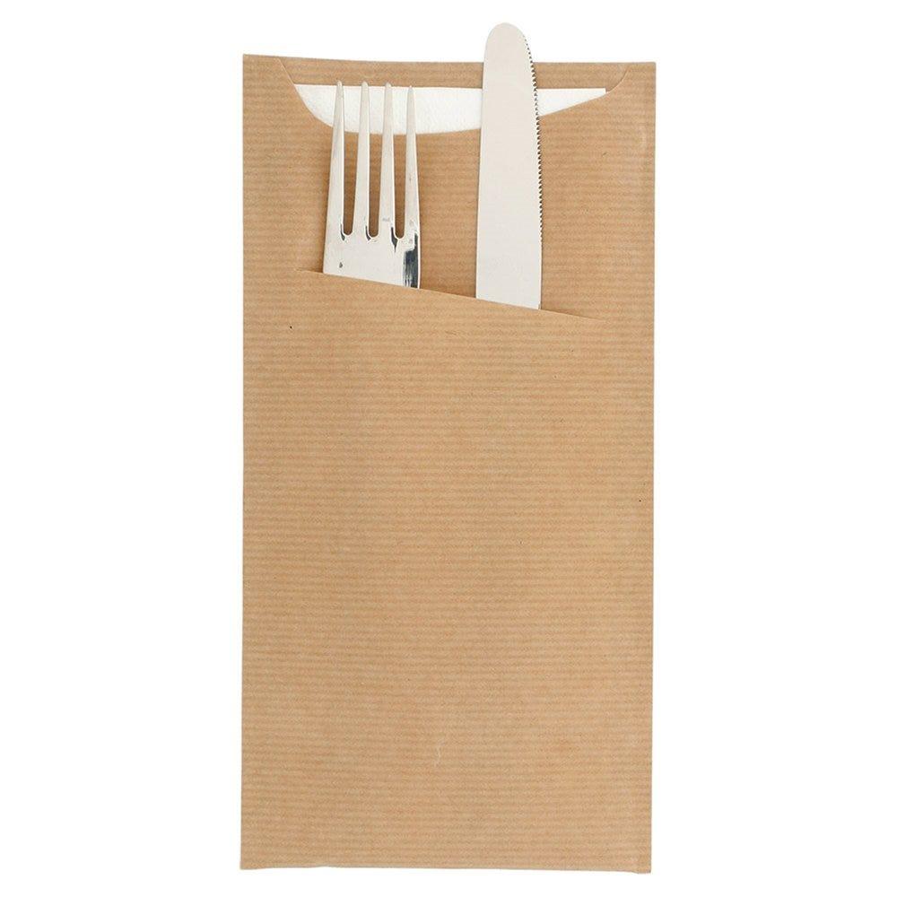 Etui pour couverts kraft naturel + serviette blanche 11,2x22,5cm x400