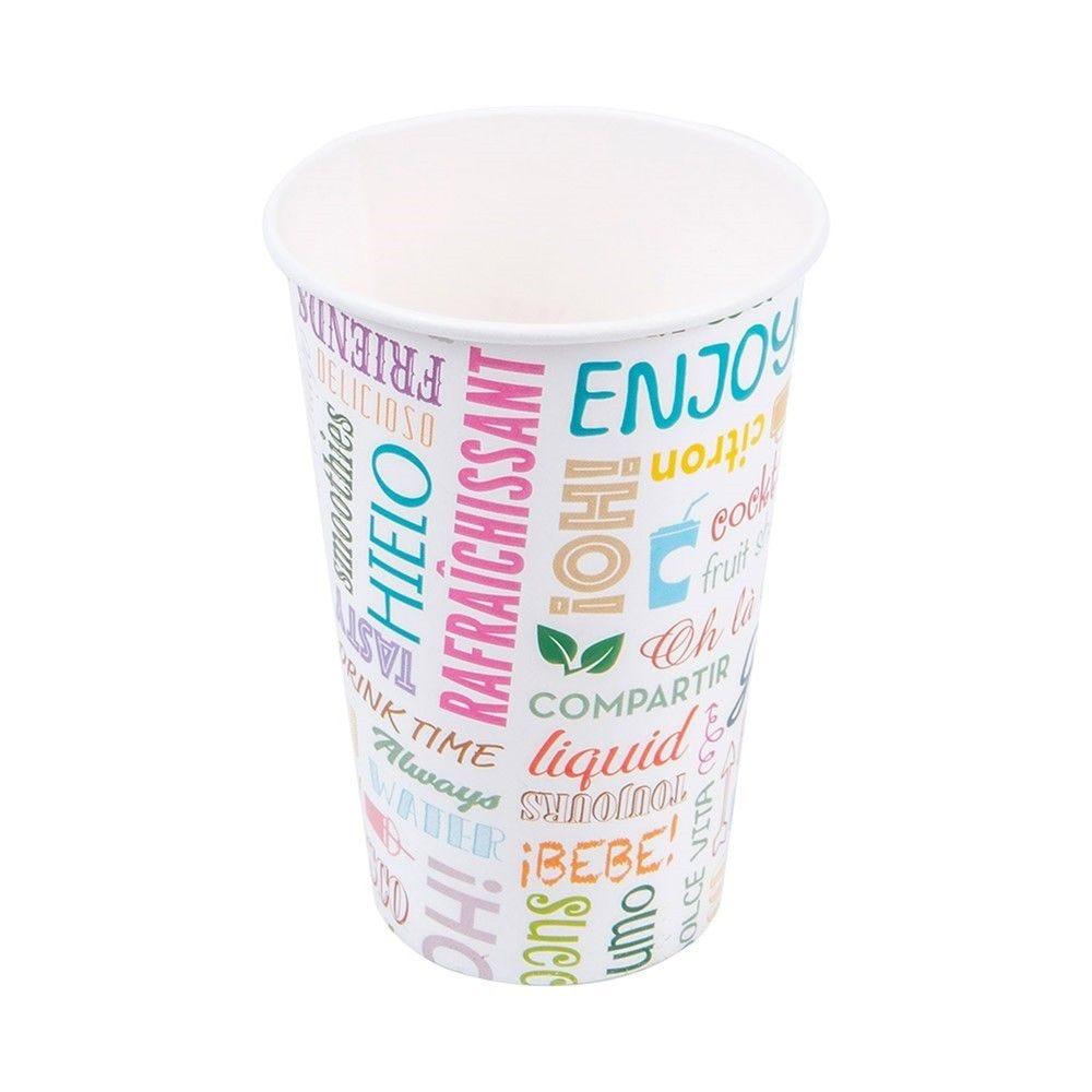 Gobelet boissons froides Parole en carton 48cl Ø9 x H 12,6cm - par 50