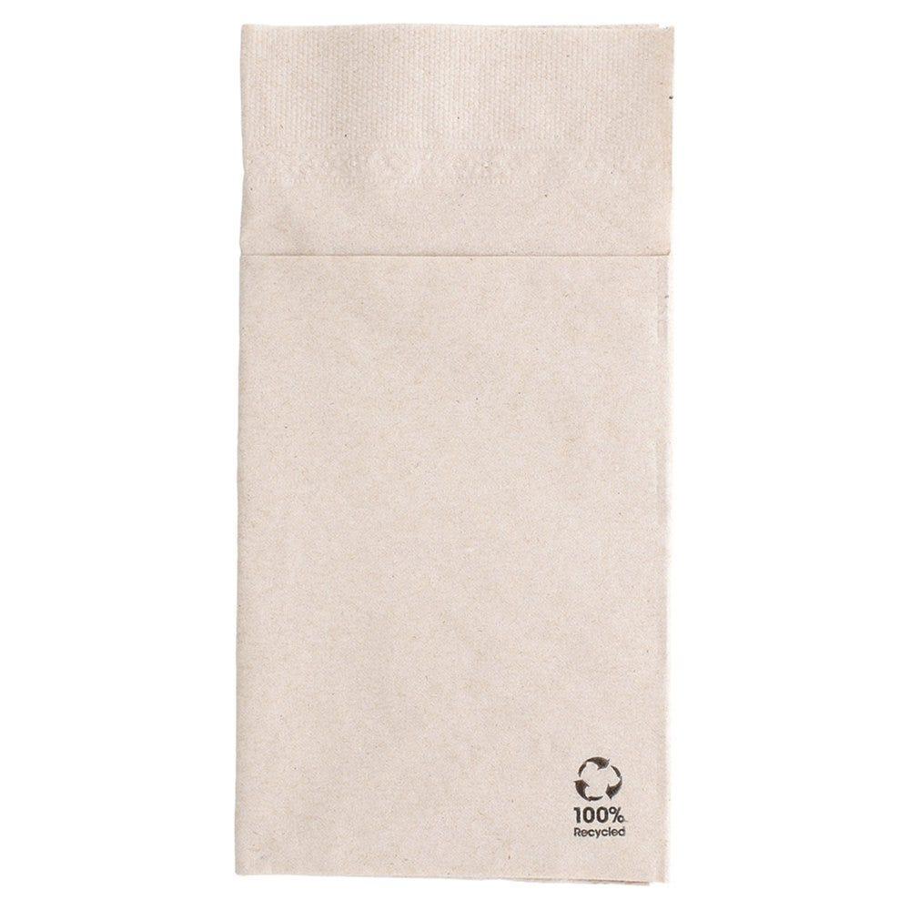 Serviette-étui pour couverts ouate recyclée 2 plis naturel 40 x 40cm - par 1000