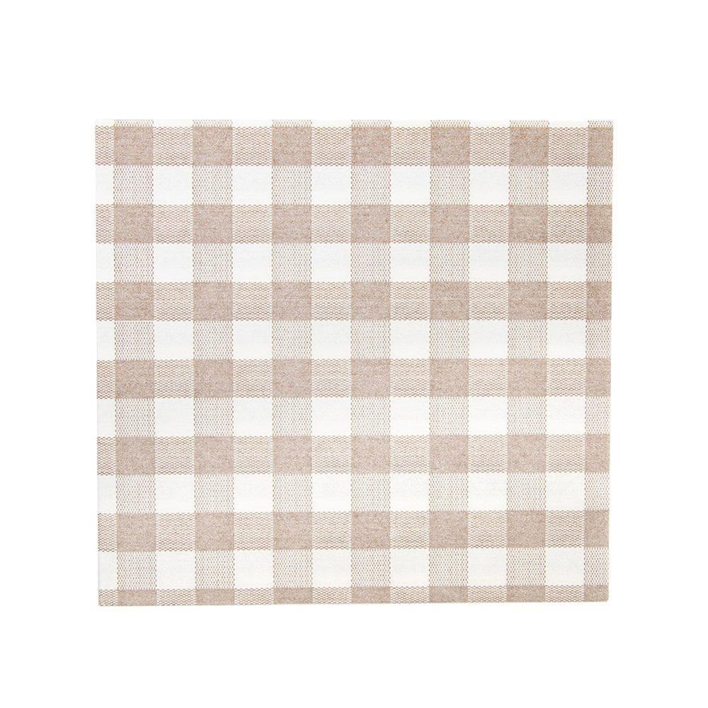 Serviette intissé Vichy taupe effet tissu 40x40cm - par 600