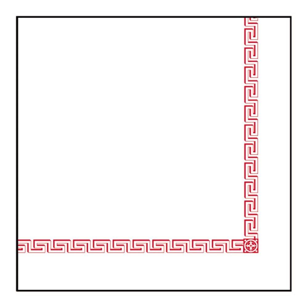 Serviette intissé blanc motif Grec 40x40cm - par 700