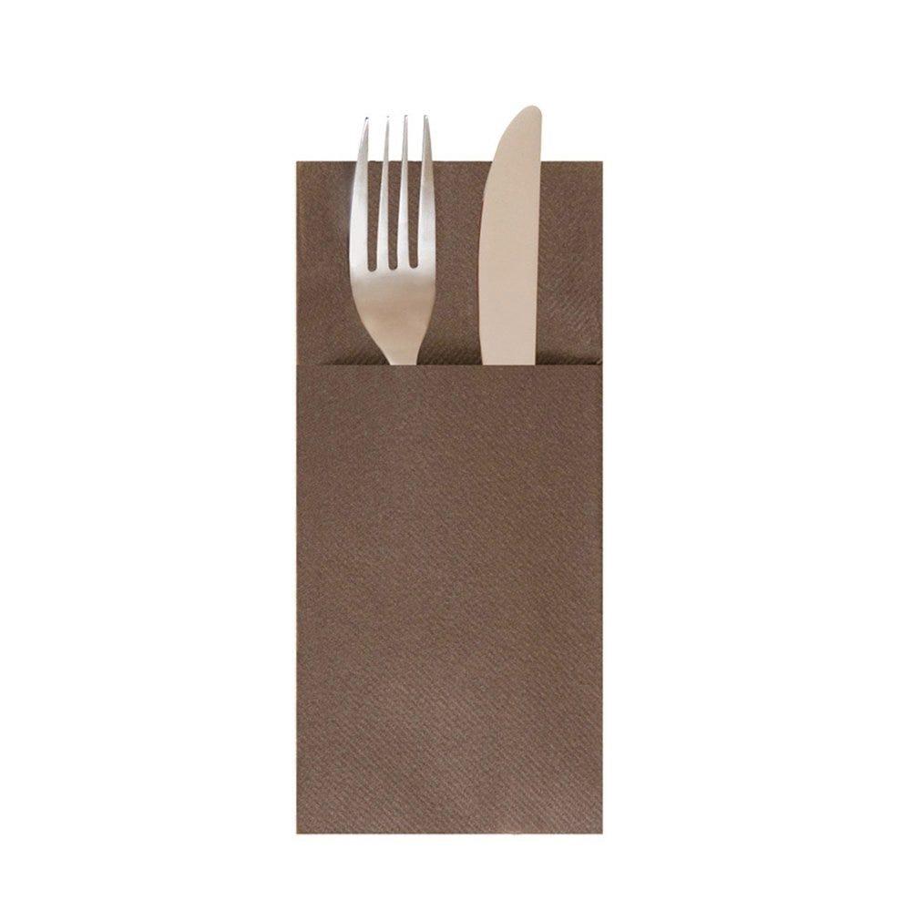 Serviette-étui pour couverts intissé chocolat 40x40cm - par 700