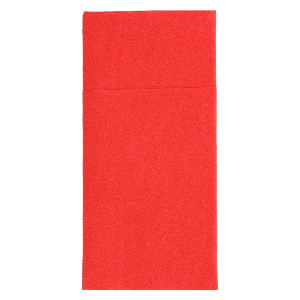Serviette-étui pour couverts intissé rouge 40x40cm - par 700