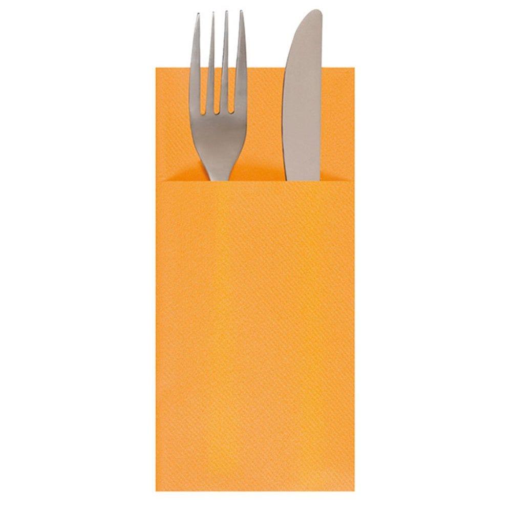 Serviette-étui pour couverts intissé mandarine 33x40cm - par 700