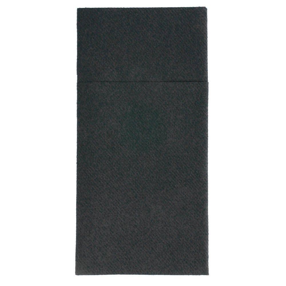Serviette-étui pour couverts intissé noir 40x40cm - par 700