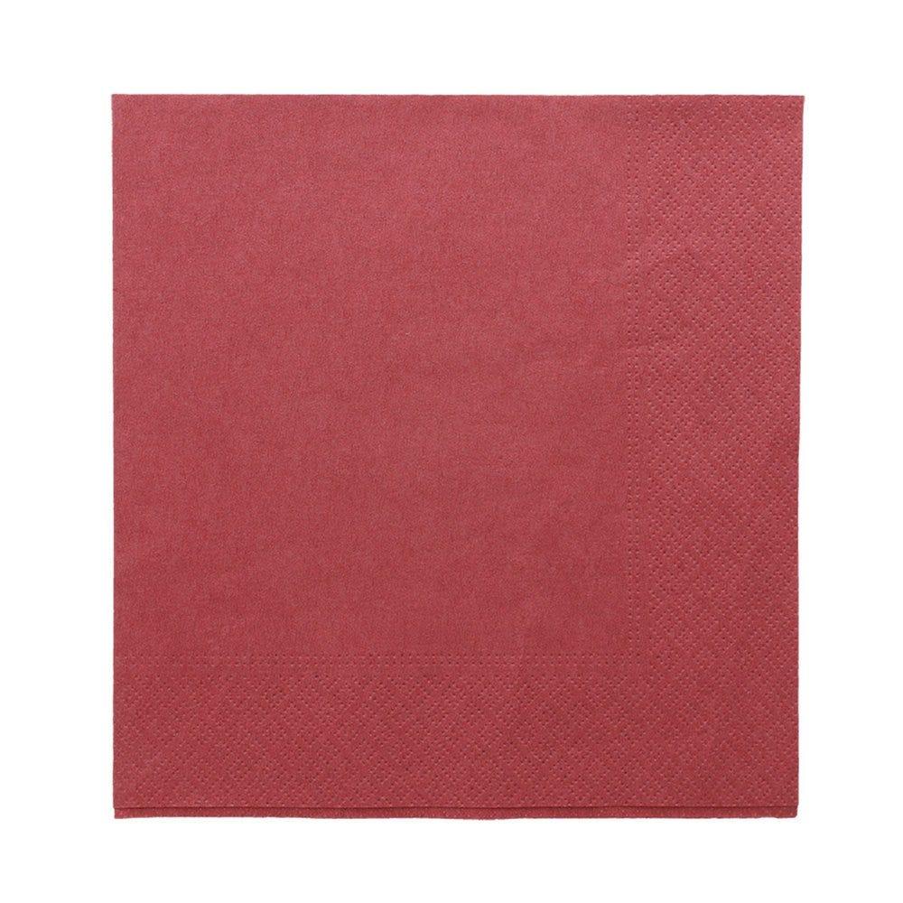 Serviette ouate 2 plis avec bord en relief bordeaux 39x39cm - par 1600