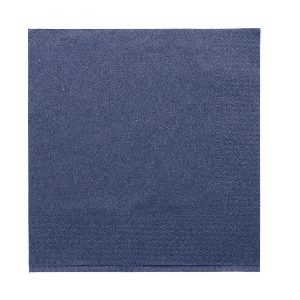 Serviette ouate 2 plis avec bord en relief bleu marine 39x39cm - par 1600