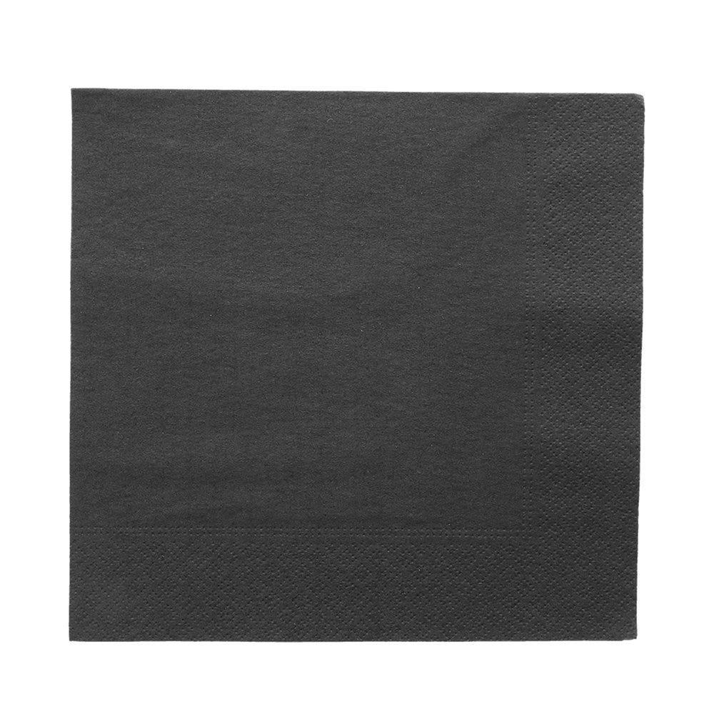 Serviette ouate 2 plis noir avec bord en relief 39x39cm - par 1600
