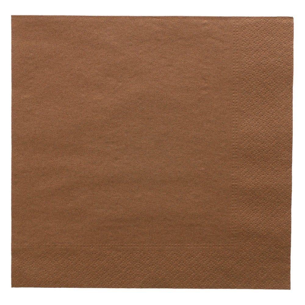 Serviette ouate 2 plis chocolat avec bord en relief 39x39cm - par 1600