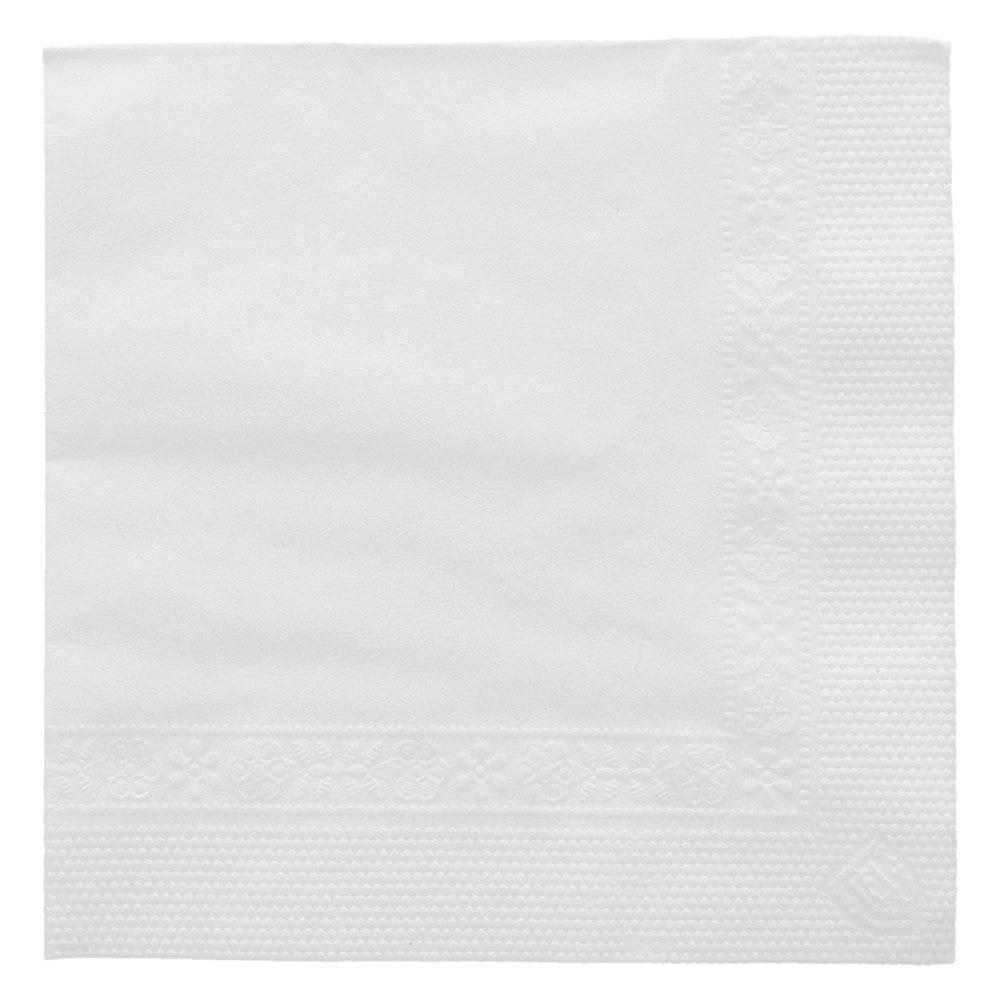 Serviette ouate 2 plis blanc avec bord en relief 20x20cm - par 4800